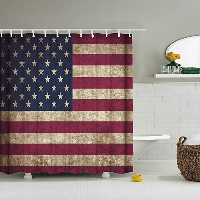 American Flag Shower Curtain USA Decor, Fourth of July Independence Day Themed Art Print Flag Painted on Wooden Planks, Polyester Fabric Bathroom Set with Hooks, Red & Blue & White - 72×72 Inches