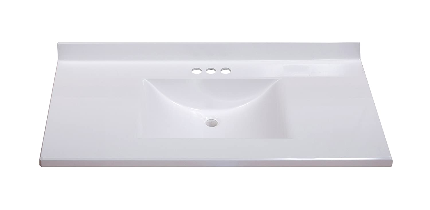 imperial fw3722spw center wave bowl bathroom vanity top solid white gloss finish 37 inch wide by 22 inch deep vanity sinks amazoncom - Bathroom Vanity Top