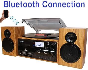 Boytone BT-28SPW, Tocadiscos Estilo clásico con Bluetooth: Amazon ...