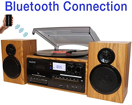Boytone BT 28SPW, Bluetooth Classic Style Record Player Turntable With  AM/FM Radio