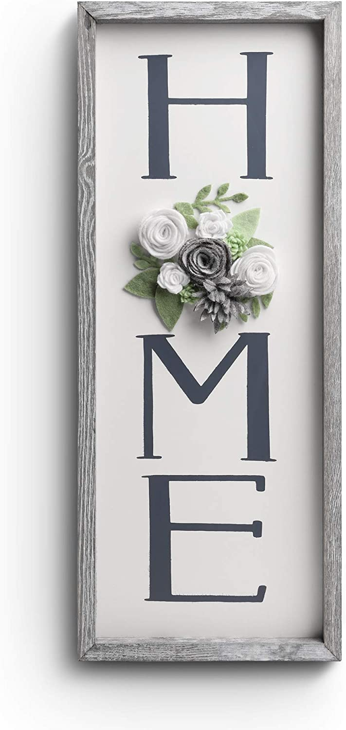 Vertical HOME Sign with Felt Flower - BeSuerte Farmhouse Wood Framed Sign for Home Decor, Gallery Wall Art,Home Plaque Wall Hanging Sign 21.7x8.6, Rustic Grey