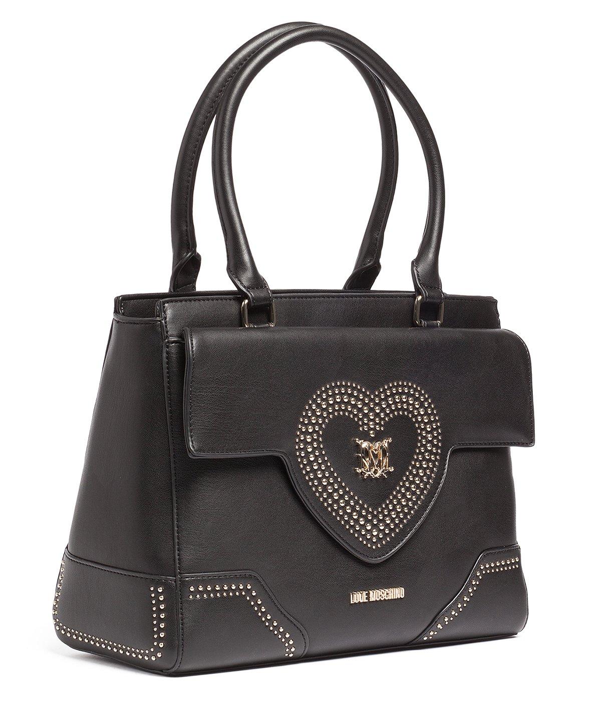 Love Moschino Women's Black Heart Shoulder Satchel Handbag