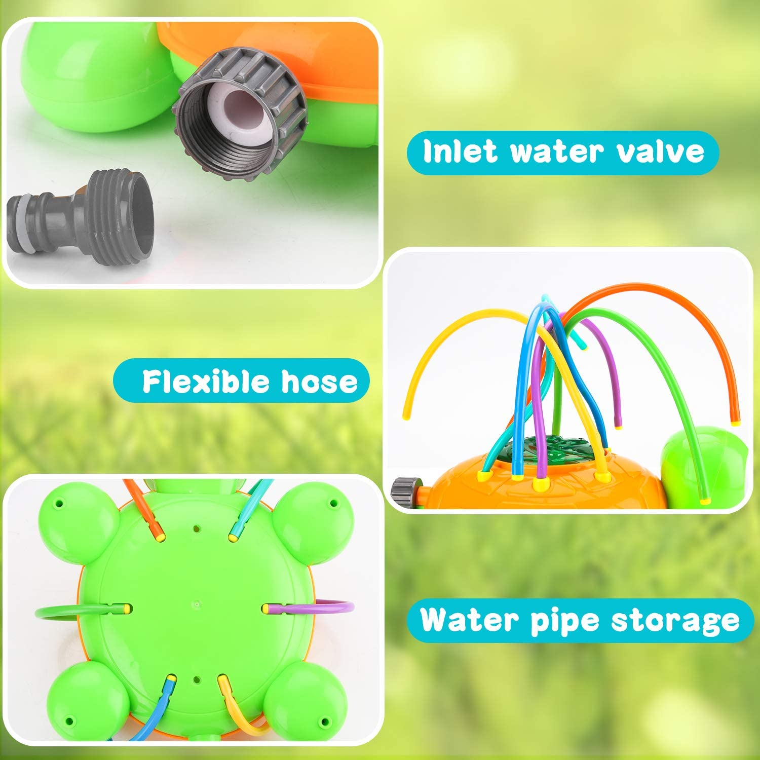 Summer Spinning Water Sprinkler Toy with Wiggle Tubes BBLIKE Kids Water Sprinkler Water Spray Sprinkler Toys for Toddlers Kids Family Outdoor Play