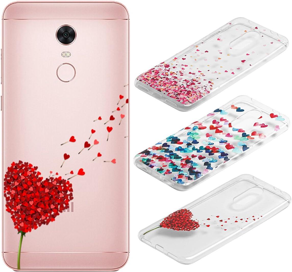 [3 Pack] Funda Xiaomi Redmi 5 Plus, Weideworld 3D Patrón Flexible Ultra Slim TPU Silicona Back Carcasa Funda para Xiaomi Redmi 5 Plus, Amor