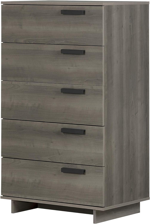 Amazon Com South Shore Cavalleri 5 Drawer Chest Gray Maple Furniture Decor