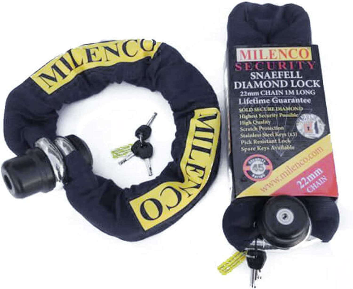 Milenco Snaefell Diamond Motorbike Motorcycle Scooter Lock /& 1M Chain