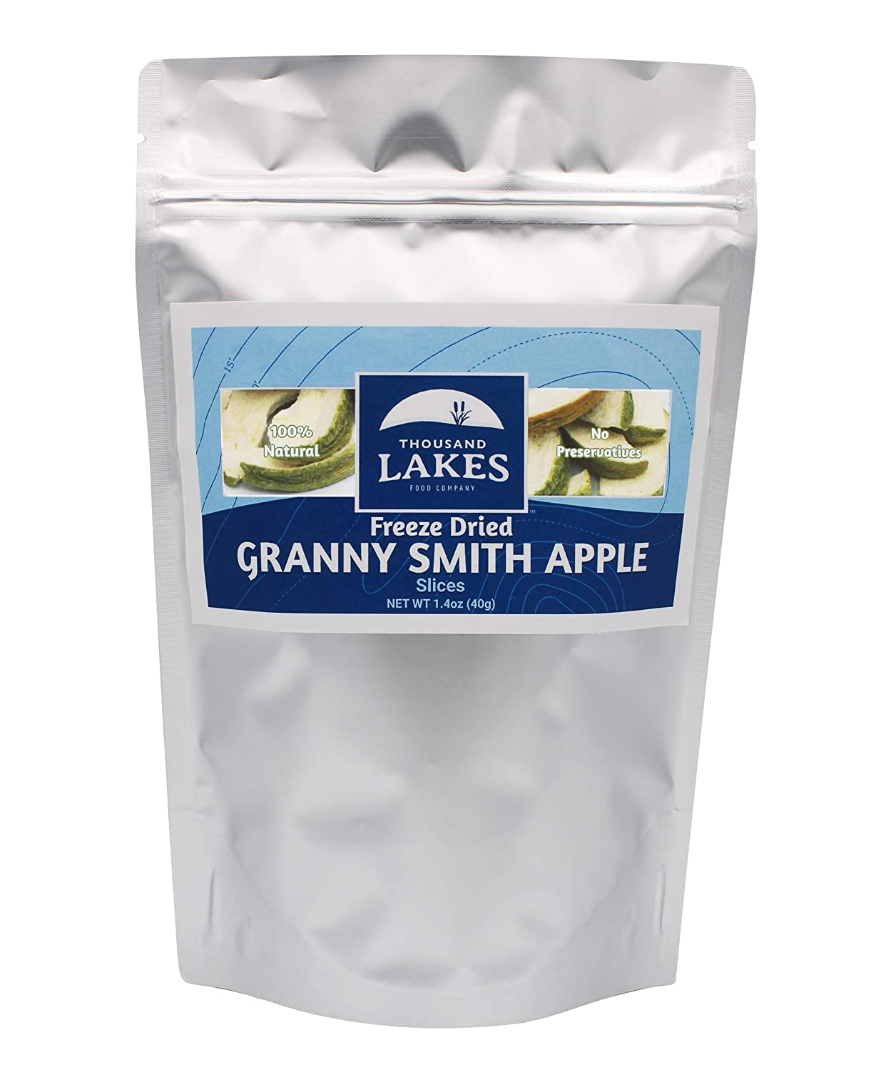 Thousand Lakes Freeze Dried Fruits and Vegetables - Granny Smith Apples 1.4 ounces   No Sugar Added   100% Sliced Apples with Peel