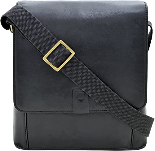 Hidesign Aiden Genuine Leather Medium Crossbody Men Women Shoulder Messenger Bag Travel Bag 10.5 iPad Bag, Black
