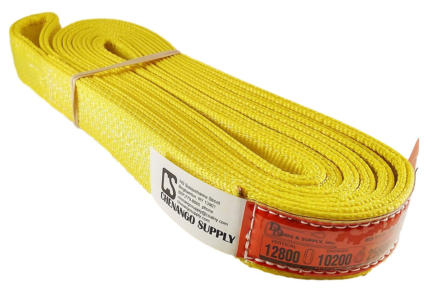 DD Sling (USA Made) 1'' & 2'' Widths By 6' to 12' Lengths in Listing, 2 Ply, Endless Nylon Lifting Slings, Heavy Duty (900 webbing), 12,800 lbs Vertical, 10,200 lbs Choker, 25,600 lbs Basket Load Capacity (USA Made Nylon Webbing) (2''x8')