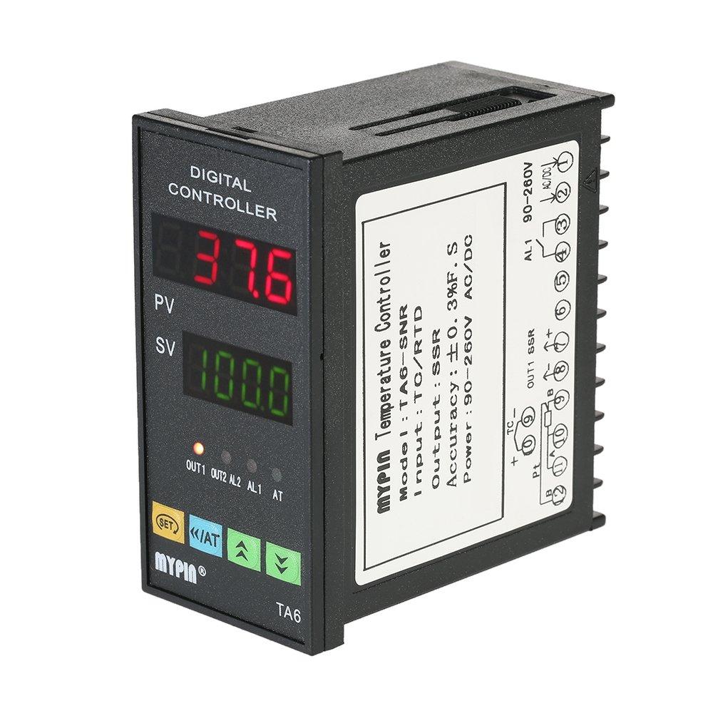 KKmoon 48mmX96mmX80mm 90-260V Temperatura Controlador Inteligente Dual 4 Digital Pantalla LED ℃ / ℉ Termostato PID Calefacció n Enfriamiento Controlar TC / RTD Entrada SSR Salida 1 Relé Alarma