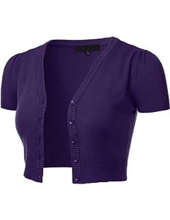1491e843259d2f FLORIA Womens Button Down Short Sleeve Cropped Bolero Cardigan Sweater  (S-4X)