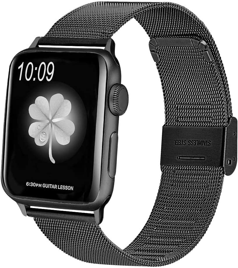 HAYUL Compatible with Apple Watch Band 38mm 40mm 42mm 44mm, Stainless Steel Mesh Loop Replacement Metal Bands Strap Wristband with Adjustable Buckle for iWatch Series 5/4/3/2/1 (Black, 42mm/44mm)