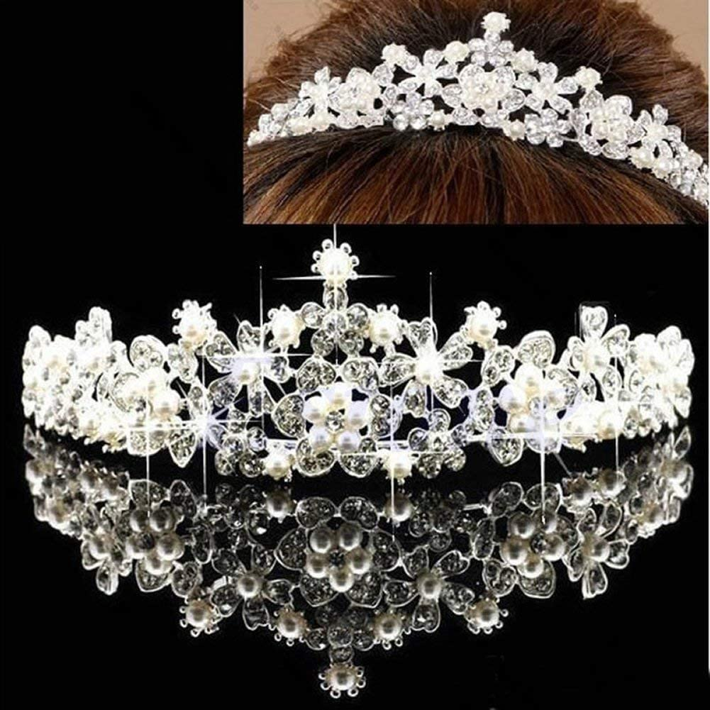 Couronne de mariage en cristal vintage pour la princesse mari/ée Tiara Accessoires de cheveux de mari/ée pratique et pratique Ogquaton Couronne de mari/ée diad/ème