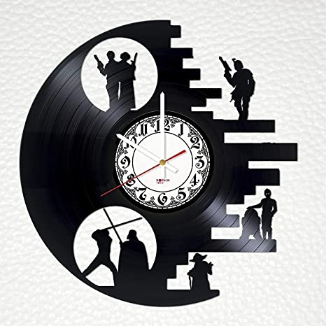 BorschToday Death Star Handmade Vinyl Record Wall Clock Get Unique Bedroom Wall Decor All Action Film Unique Art Design Gift Ideas for Friends Men and Women