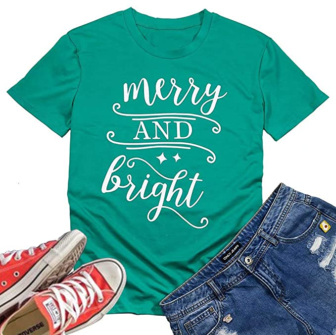 Amazon.com  FLOYO Merry and Bright Letters Print Women Christmas T Shirt  Short Sleeve O Neck Tee Size L (Green)  Clothing 056b575f5