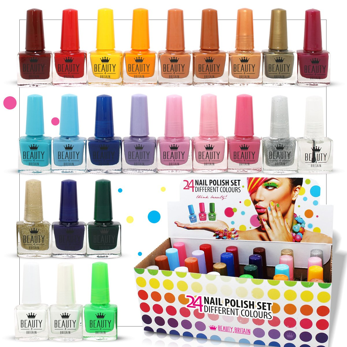 24 x NAIL POLISH VARNISH (SET B) 24 DIFFERENT COLOURS THE BEST GIFT ...
