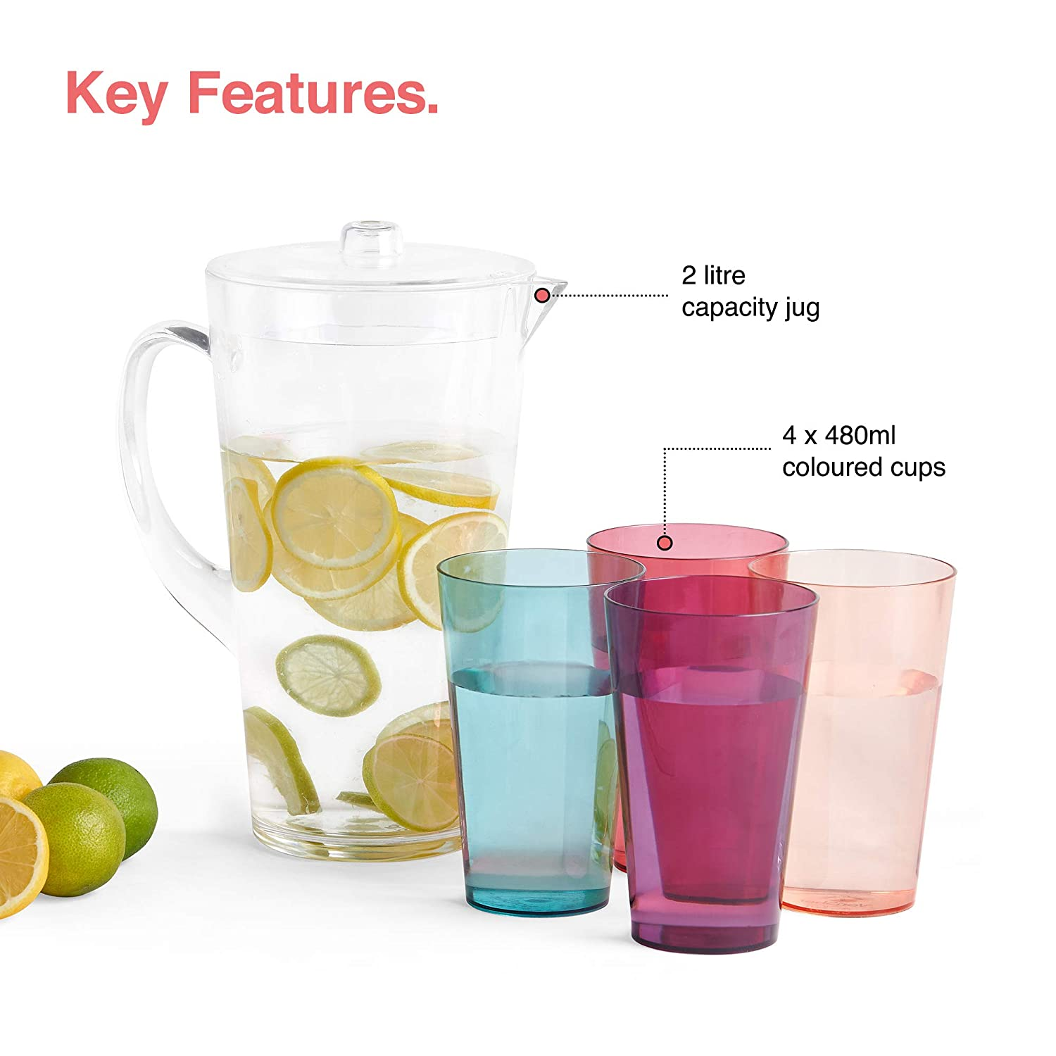 BBQ VonShef 1.7L Water Pitcher with 4 Cups Fruit Infuser Jug//Carafe Shatterproof Build for Outdoor Garden Picnic Camping