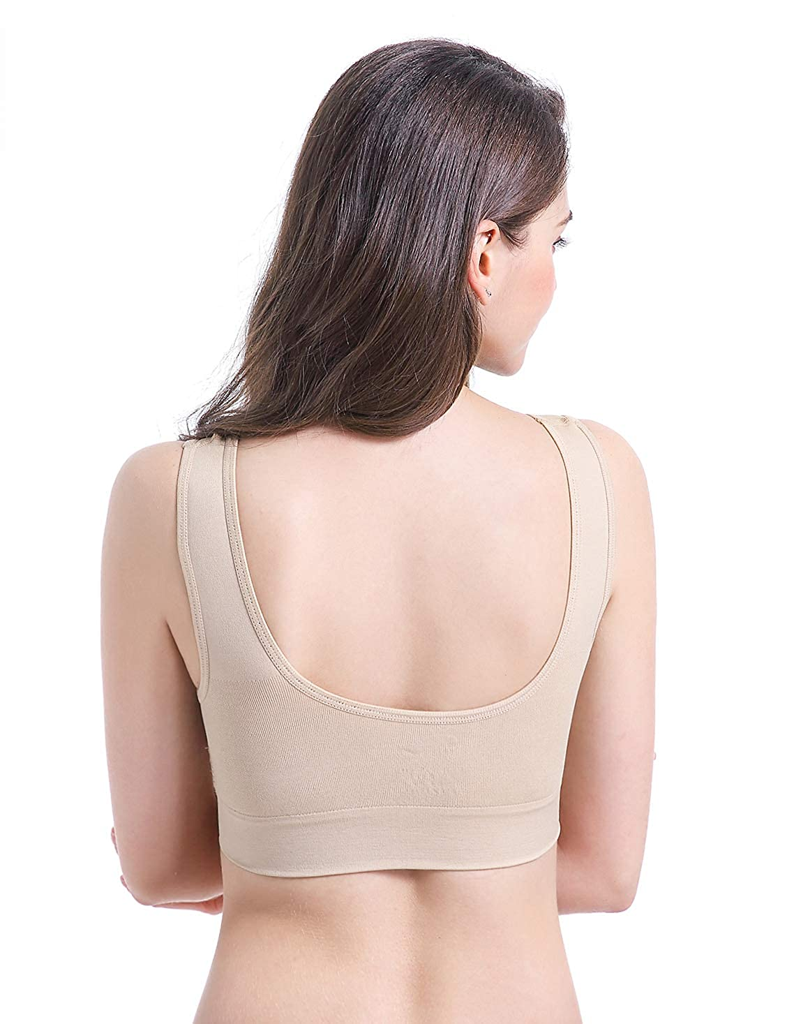 Comfort Seamless Wireless Stretchy Sports Bra,3 Pack Yoga Bras with Removable Pads PRETTYWELL Sleep Bras for Women