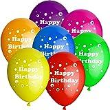 10 Luftballons Ø 25 cm Motiv Happy Birthday Bunt Gemischt Ballons Helium Luftballon