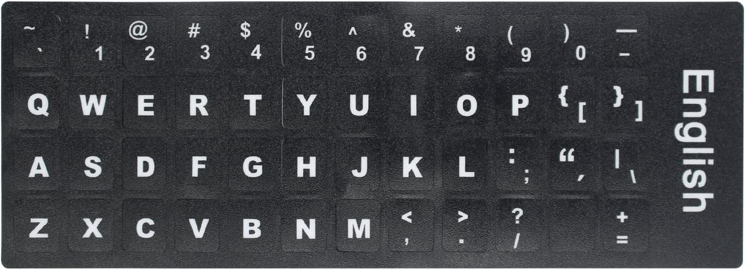 [2PCS Pack] HRH English Keyboard Stickers,PC Keyboard Stickers Black Background with White Lettering for Computer