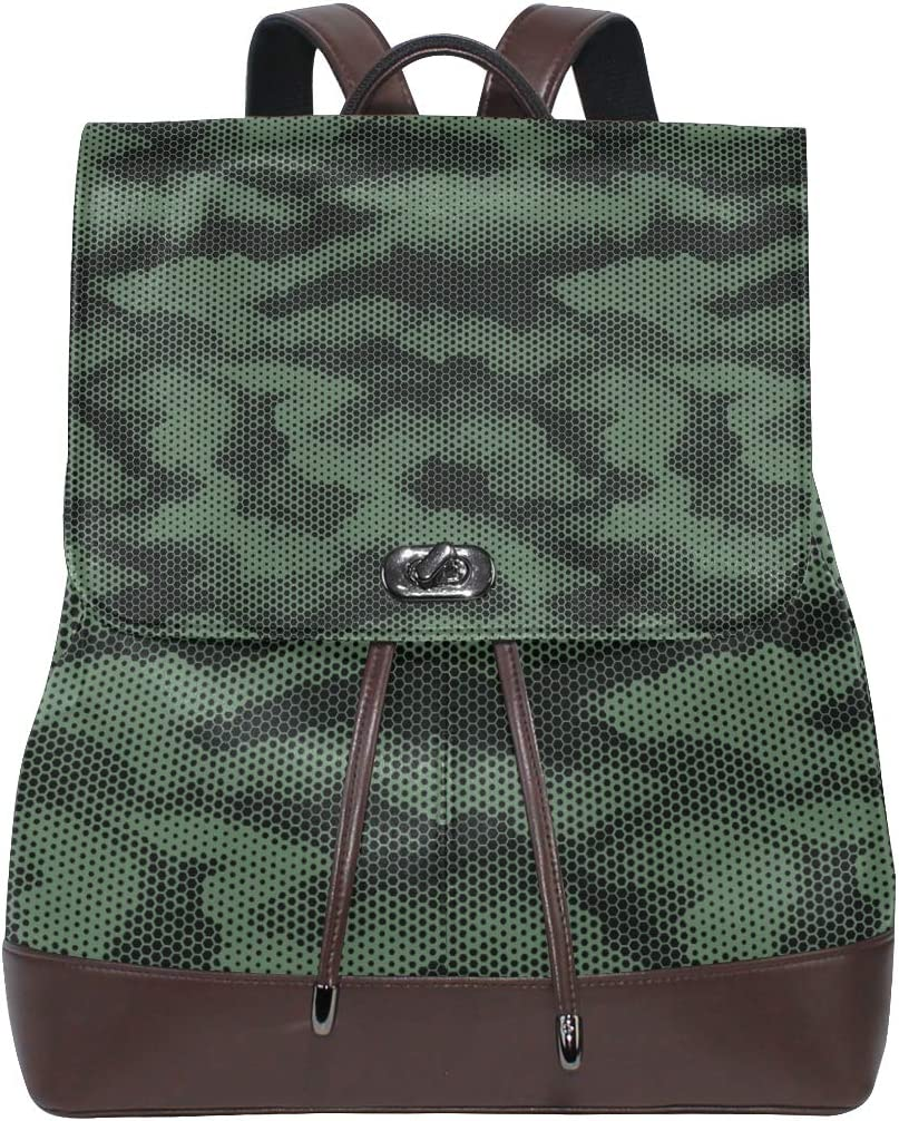 Unisex PU Leather Backpack Green Digital Hex Camo Print Womens Casual Daypack Mens Travel Sports Bag Boys College Bookbag