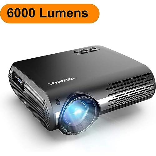 Proyector WiMiUS 6000 Lúmenes Proyector Full HD 1920x1080P Nativo Proyector Video Compatible 4K Pantalla 300 Ajuste Digital 70 000 Horas Proyector LED para Cine en Casa y Presentación Empresarial
