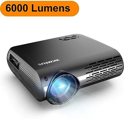 Proyector, WiMiUS 6000 Lúmenes Proyector Full HD 1920x1080P Nativo Proyector Video Compatible 4K Pantalla 300
