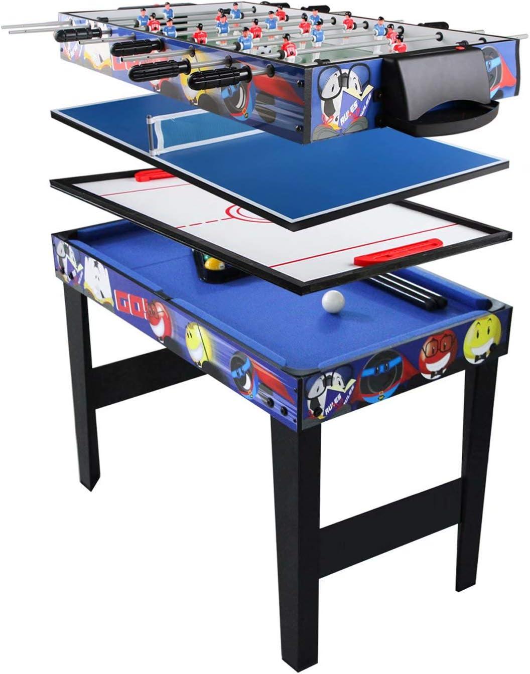 YIHGJJYP Futbolin Multifunción 4 pies en 1 Juego Infantil Mesa de Billar Hockey Ping Pong máquina fútbol: Amazon.es: Hogar