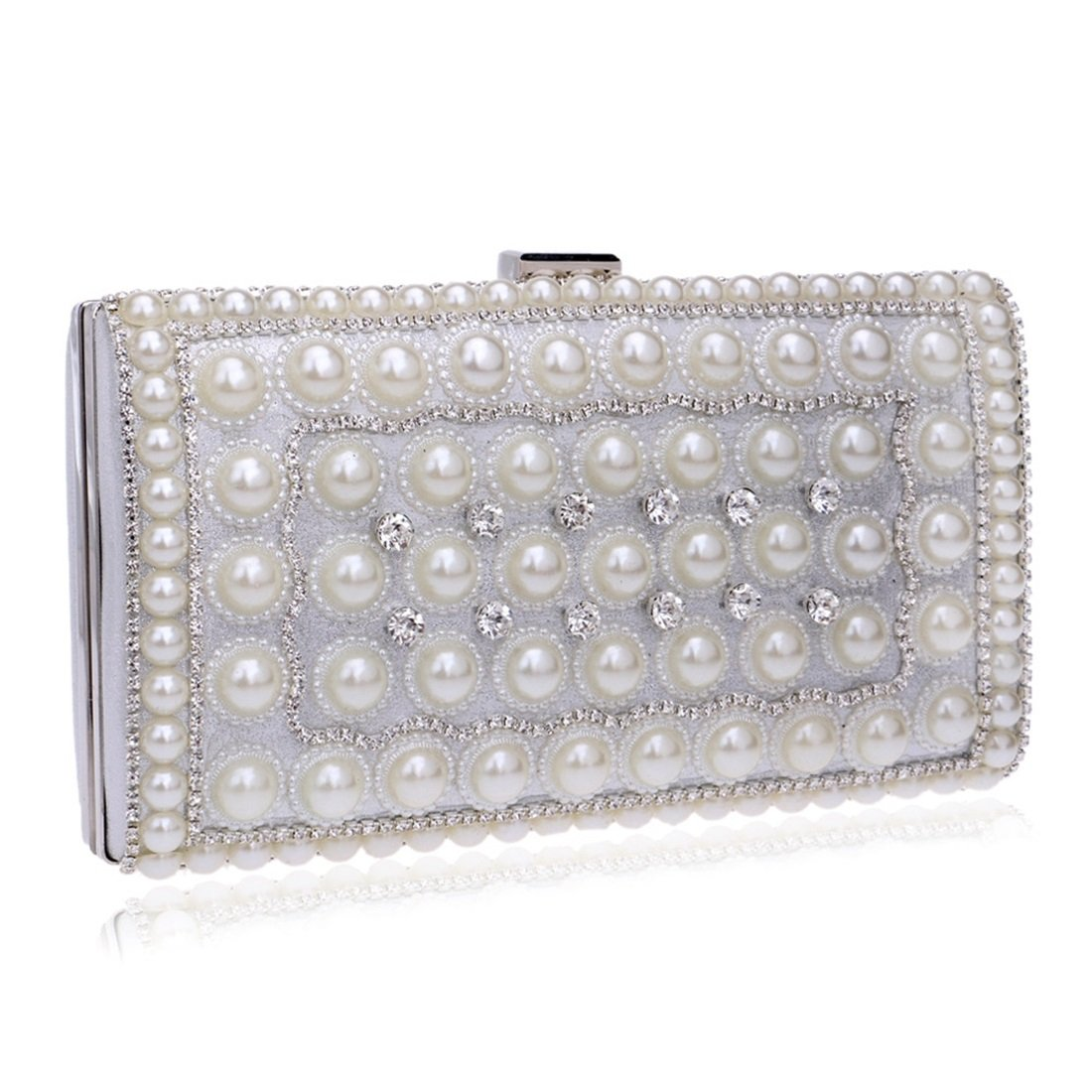 Color : Silver LBY European and American Pearl Dinner Bag Womens Banquet Dress Evening Clutch Evening Package