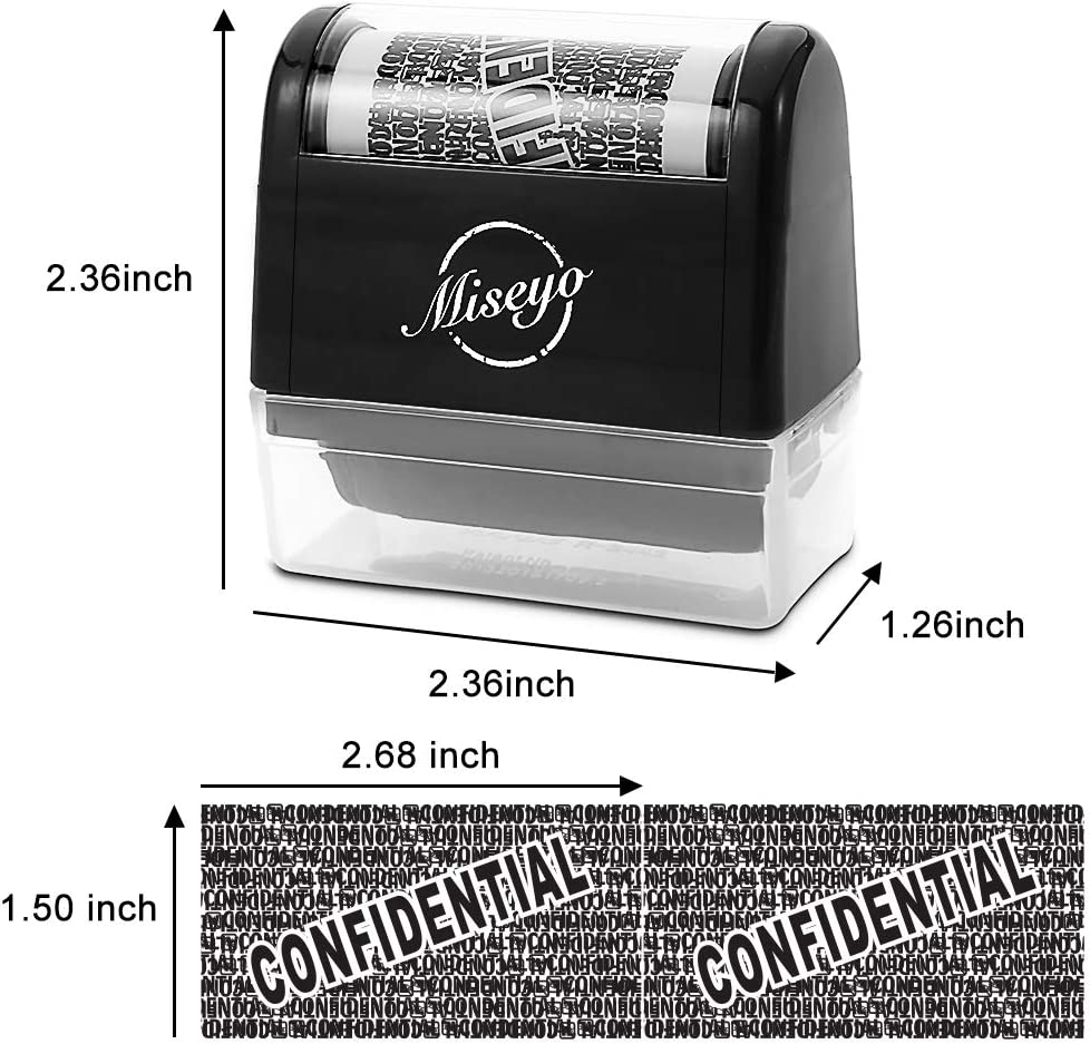 Miseyo Wide roller stamp Identity Theft timbro 3,8/ cm perfetto per privacy protezione White