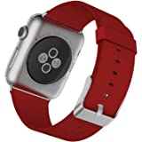 Apple Watch Band, JETech 38mm Genuine Leather Strap Wrist Band Replacement w/ Metal Clasp for Apple Watch All Models 38mm (Leather - Red)
