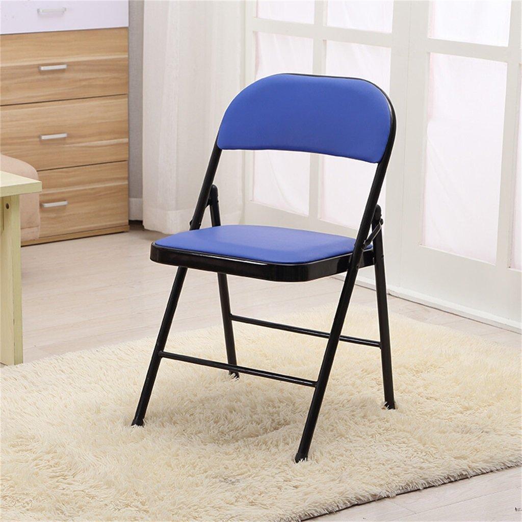 2019人気特価 ベンチ 折りたたみ椅子PUレザーパッド入りの強い金属フレームホームオフィスとコンピュータ背もたれの椅子 (A++) (色 (色 : 青) (A++) 青 ベンチ B07DB7B4RW, メアリーココ/ブラックフォーマル:cf302e51 --- cliente.opweb0005.servidorwebfacil.com