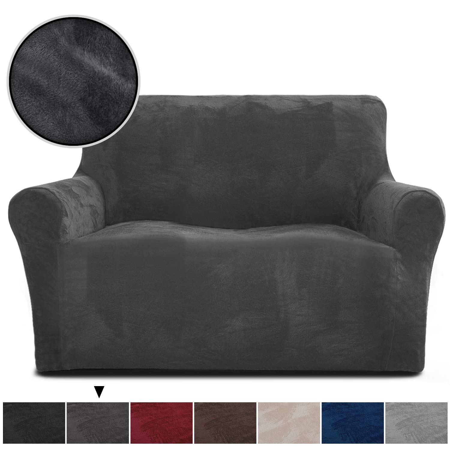 Rose Home Fashion RHF Velvet Loveseat Slipcover Slipcovers for Couches and Loveseats, Loveseat Cover&Couch Cover for Dogs, 1-Piece Sofa Protector(Dark ...