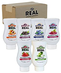 Reàl Fruit Infused Flavoring Syrup Variety - Strawberry, Raspberry, Peach, Blueberry, Black Cherry, Crisp Apple (Pack of 6, 16.9 FL OZ Bottles)
