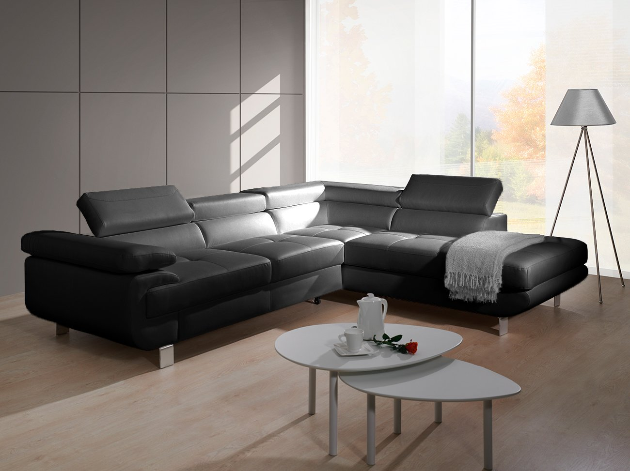 luccia schwarz sofa couch ecksofa l form elegant mit. Black Bedroom Furniture Sets. Home Design Ideas