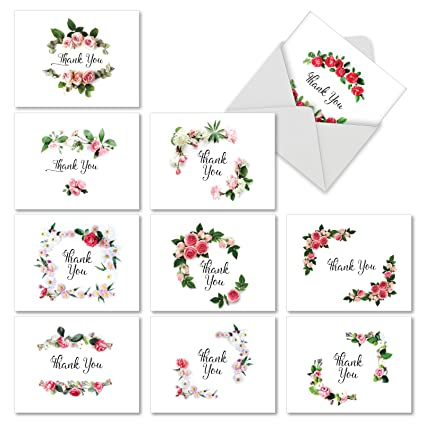 m4175tyg b1x10 elegant flowers 10 assorted thank you note cards featuring script sentiment surrounded