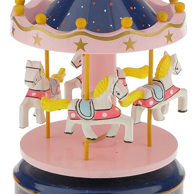 - Blanc et Or L 10 Styles Bo/îte /à Musique Carrousel Man/ège Bois Rainbow D/écoration Cadeau Jouet Musical pr Enfant