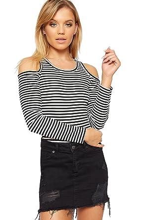 e26cd92c111 WearAll Women s Monochrome Striped Long Sleeve Off Shoulder Bodysuit  Leotard at Amazon Women s Clothing store