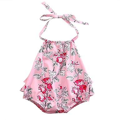 7746cf823c0 SCFEL Baby Girl Romper Halter Newborn Toddler Infant Floral Ruffle Bubble  Outfits Bodysuit (100(