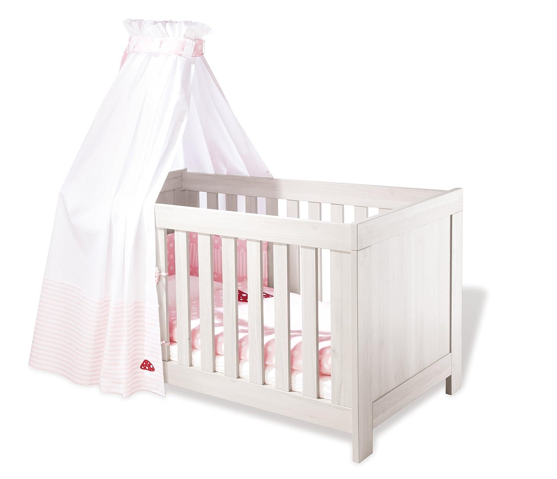 Pinolino Kinderbett Pepper, elegantes Kinderbett (140 x 70 cm) mit 3 Schlupfsprossen, Esche grau, Umbauseiten enthalten (Art.-Nr. 11 00 47)