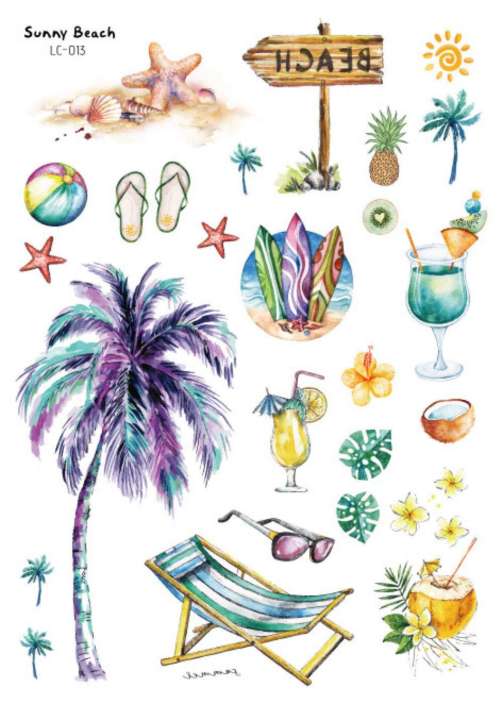 Etiqueta engomada impermeable del tatuaje Playa hawaiana Etiqueta ...