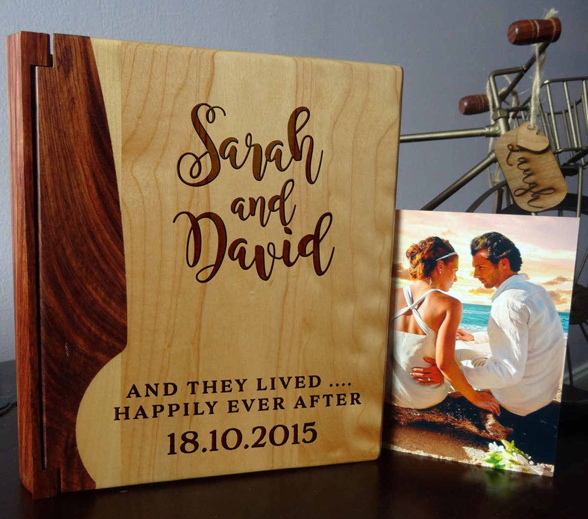 Personalized Wood Cover Photo Album, Custom Engraved Wedding Album, Style 102 (Maple & Rosewood Cover)