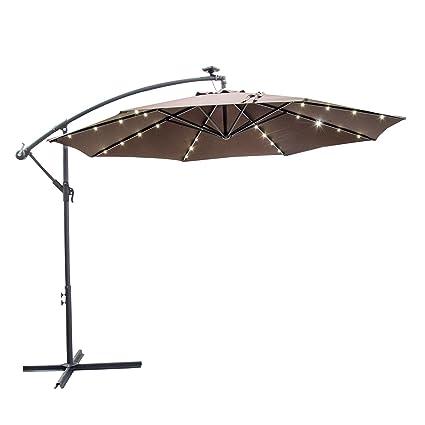 Caymus 10u0027 Offset Cantilever Hanging Patio Umbrella Freestanding Outdoor  Adjustable Market Umbrella With 32 LED