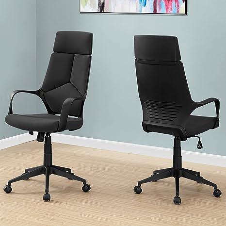 Amazon.com: Silla de oficina, color negro/negro tela/silla ...