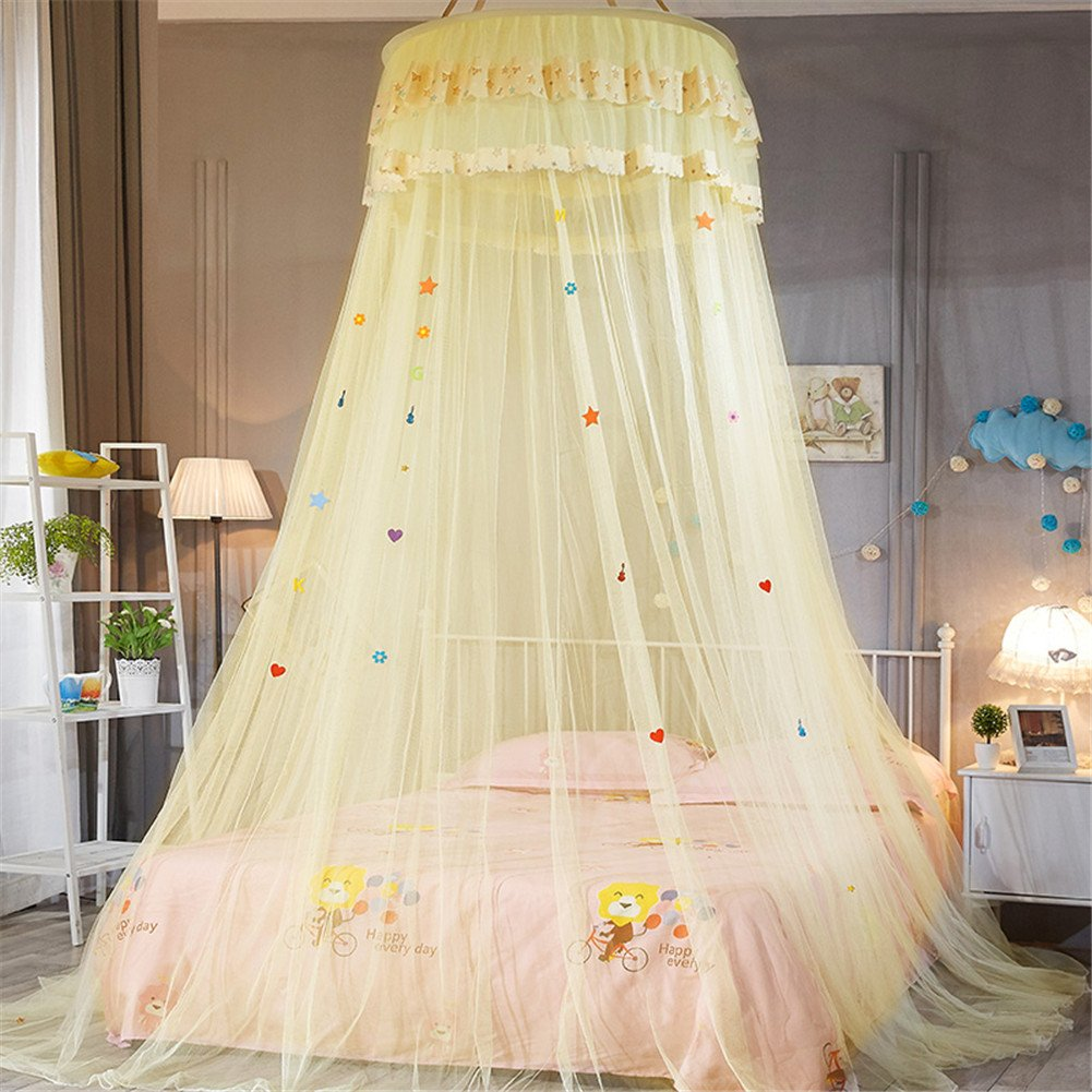 FOERTENG Canopy Bed Curtains, Dome Ceiling Suspended Princess Queen Mosquito Net Tent Single Door (Yellow)