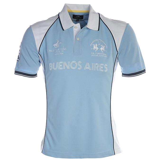 La Martina Hombres Camisa Polo de Piqué isidoro Azul M: Amazon.es ...