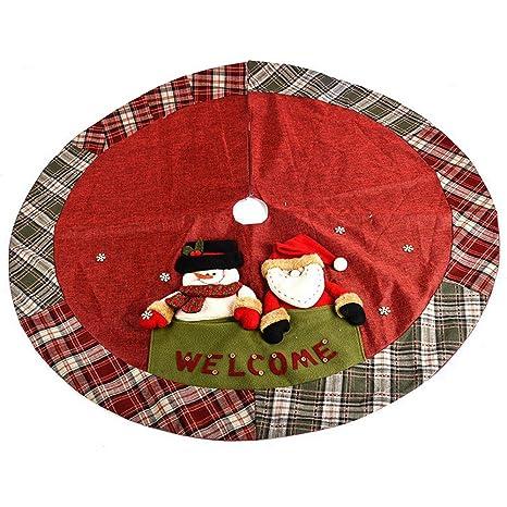 ornerx yute de Navidad falda del árbol con verde rojo borde de ...