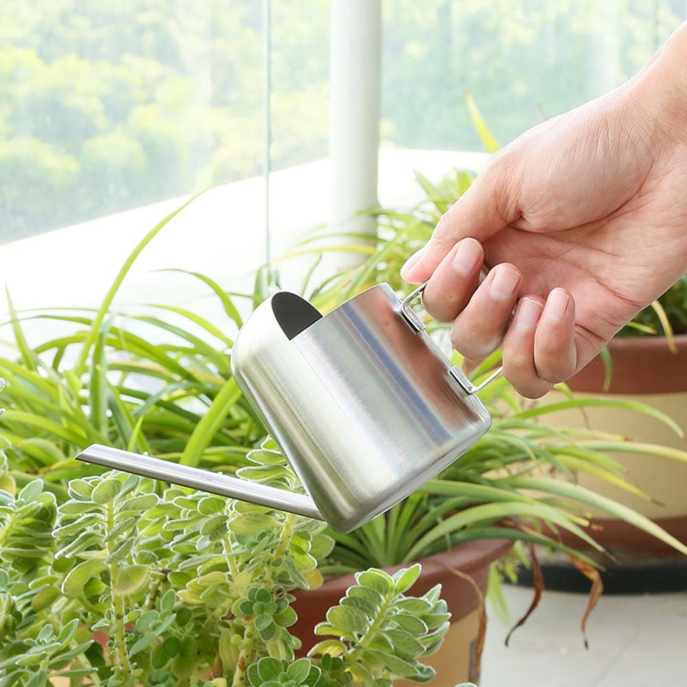 URIJK Mini Stainless Steel Watering Can Pot 300 ml & 500 ml - Modern Style Watering Pot Long Spout Brushed Finish Design for Indoor House Outdoor Garden Plants Houseplant