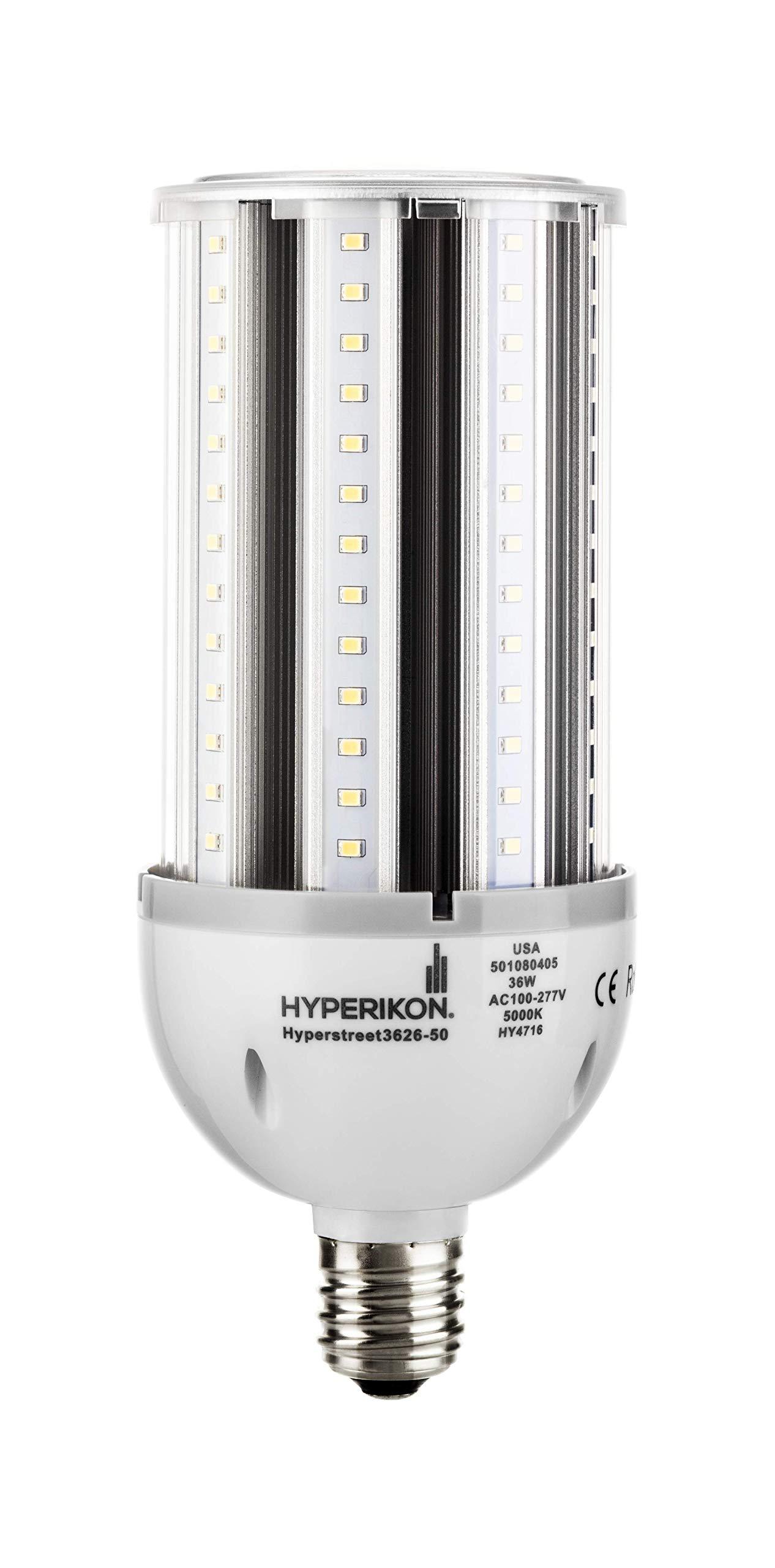Hyperikon LED Street Light, 36W (200W Equivalent), E39 (Large Mogul Base), 4340 lumen, 5000K (Crystal White Glow), 320° Omnidirectional, 100-277v, CRI 85, UL-listed and DLC Certified