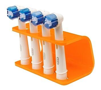 Seemii - Soporte para cabezales de cepillo de dientes electrónico, Soporta 2 ó 4 cabezales, Soporte Oral-B cabezales, Naranja mandarina (4): Amazon.es: ...